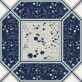 在蓝色的无缝的抽象瓦片 库存照片