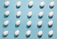 在蓝色的有机白鸡蛋 抽象模式 在等量的鸡蛋 免版税库存照片