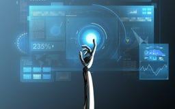 在蓝色的机器人手感人的虚屏 免版税库存图片