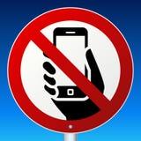 在蓝色的没有手机标志 库存图片