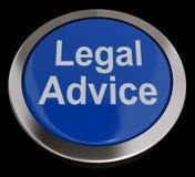 在蓝色的法律建议按钮 免版税图库摄影