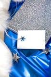 在蓝色的礼品券 免版税库存图片