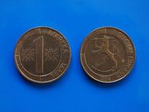 在蓝色的芬兰硬币前欧洲时代 免版税图库摄影