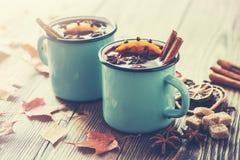 在蓝色的被仔细考虑的酒上釉了土气杯子用香料 在书桌上的秋叶 库存图片