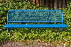 在蓝色的金属长凳与叶子 库存图片
