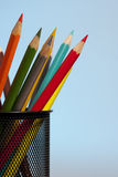 在蓝色的颜色铅笔 库存照片