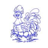 在蓝色的鸡蛋的鸡 愉快的复活节 免版税库存图片