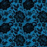 在蓝色的黑鞋带花 库存照片
