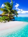 在蓝色盐水湖旁边的热带别墅和棕榈树 库存图片