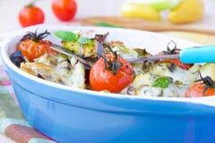 在蓝色碗的混杂的菜在烤箱烘烤了用乳酪和b 免版税库存照片