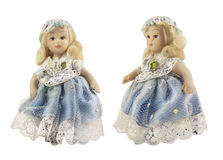 在蓝色礼服的瓷玩偶 库存图片