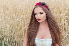 在蓝色礼服的美好的sexualintelligance女孩模型有桃红色嘴唇设计的展示在头的一个外缘在晴朗的一个领域 库存照片