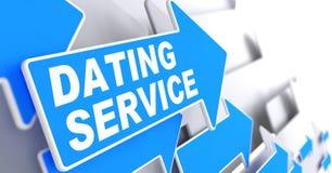 在蓝色箭头标志的约会服务 免版税库存图片