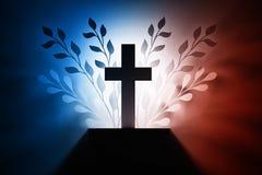 在蓝色红色白色的十字架 向量例证