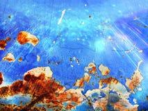 在蓝色纹理的铁锈 库存照片