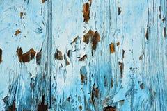 在蓝色纹理绘的老木头 库存图片