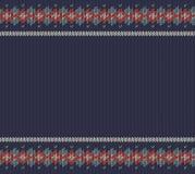 在蓝色羊毛背景的Knitted条纹图形 免版税库存图片
