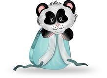 在蓝色背包的熊猫 图库摄影