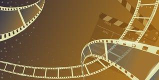 在蓝色背景与clapperboard的另外影片小条框架隔绝的 设计模板戏院节日横幅,小册子,飞行物 皇族释放例证