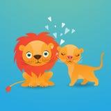 在蓝色背景传染媒介例证的逗人喜爱的狮子动画片 图库摄影