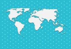 在蓝色背景传染媒介的纸世界地图 免版税库存照片