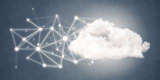 在蓝色背景和小点当网络想法画的线 免版税库存图片