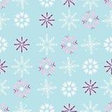 在蓝色背景圣诞节seamles的紫色和白色雪花 库存例证