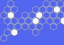 在蓝色背景墙壁样式的白色六角形 库存照片