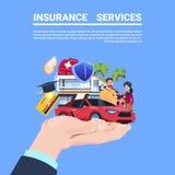 在蓝色背景平的拷贝的保险业务保护概念手汽车生活家医疗金融政策合同 向量例证
