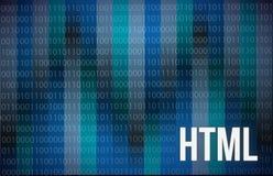 在蓝色背景数字式技术的HTML摘要 免版税库存照片