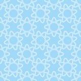 在蓝色背景无缝的样式的线性白花 摘要 免版税图库摄影