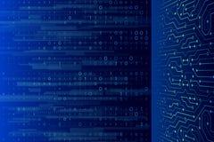 在蓝色背景的二进制编码数字技术 库存图片