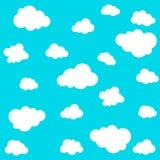 在蓝色背景的云彩无缝的样式 也corel凹道例证向量 库存图片