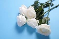 在蓝色背景的五朵白玫瑰与笔记的空的空间 看板卡例证浪漫向量 免版税库存图片
