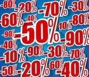 在蓝色背景的创造性的坚硬Dicount销售 免版税库存照片