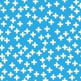 在蓝色背景的加号 免版税库存照片