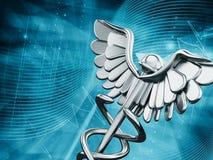 在蓝色背景的医学标志 免版税库存图片