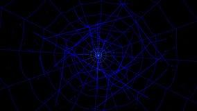 在蓝色背景的同心蜘蛛网 影视素材