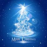 在蓝色背景的圣诞树和光 库存照片