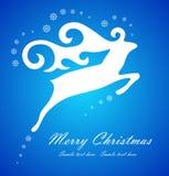在蓝色背景的圣诞节空白鹿 免版税库存照片