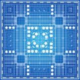 在蓝色背景的城市计划 库存图片