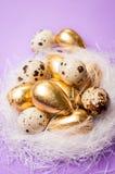 在蓝色背景的复活节金黄鸡蛋 库存图片