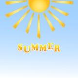 在蓝色背景的太阳 免版税图库摄影