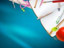 在蓝色背景的学校用品 10 eps 免版税库存图片
