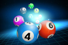 在蓝色背景的宾果游戏球 也corel凹道例证向量 免版税图库摄影