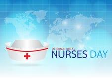 在蓝色背景的引起的图象护士盖帽 库存图片