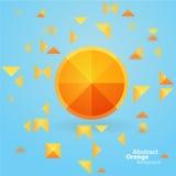 在蓝色背景的抽象橙色正方形 库存照片