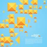 在蓝色背景的抽象橙色正方形 图库摄影