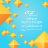 在蓝色背景的抽象橙色正方形 免版税库存照片