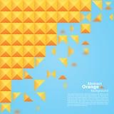 在蓝色背景的抽象橙色正方形 免版税库存图片